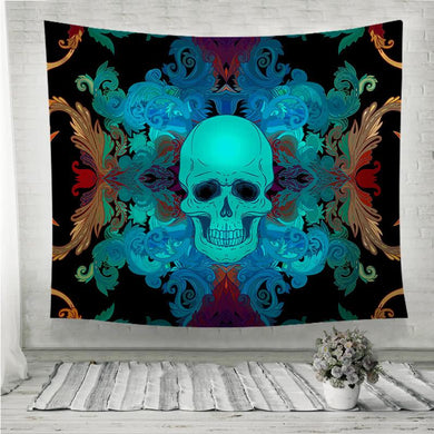 Baroque Blue Damask style pattern with skull Wall Tapestry