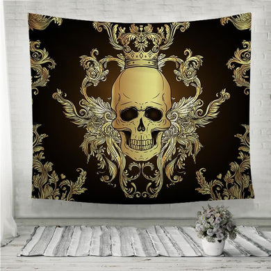 Baroque Gold Damask style pattern with skull Wall Tapestry
