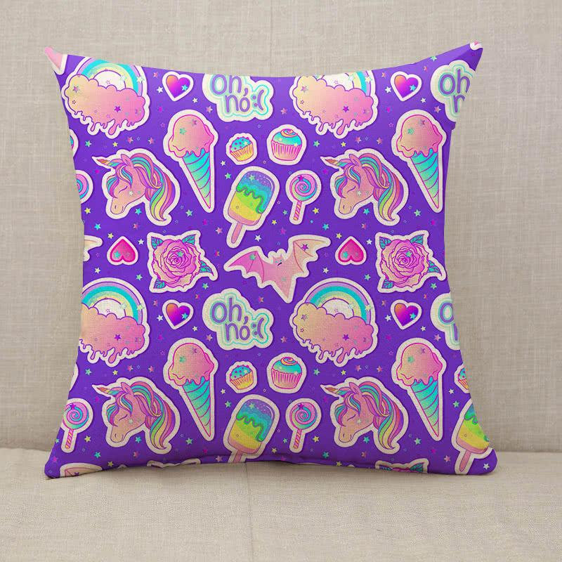 Colorful unicorn sweets rainbow ice cream lollipop cupcake rose bat Throw Pillow [With Inserts]