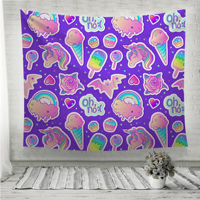 Colorful unicorn sweets rainbow ice cream lollipop cupcake rose bat Wall Tapestry