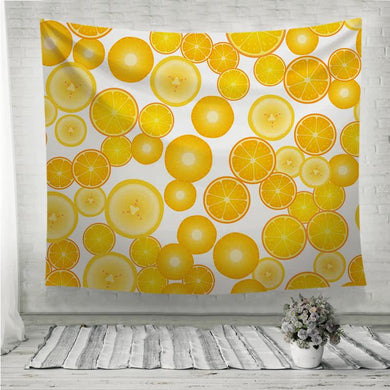 Yellow fruit orange lemon pattern Wall Tapestry