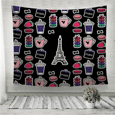 Eiffel Tower with coffee and macaroons Wall Tapestry