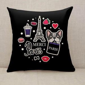 Eiffel Tower and cute dog face Throw Pillow [With Inserts]
