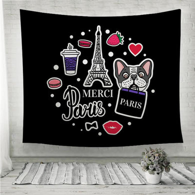 Eiffel Tower and cute dog face Wall Tapestry