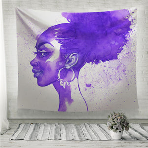 Purple hair african woman Wall Tapestry