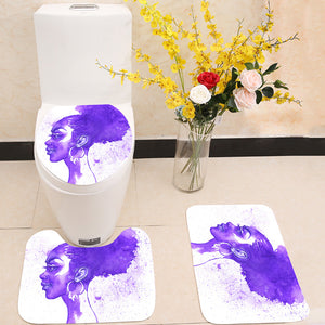 Purple hair african woman 3 Piece Toilet Cover Set