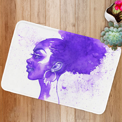 Purple hair african woman Bath Mat