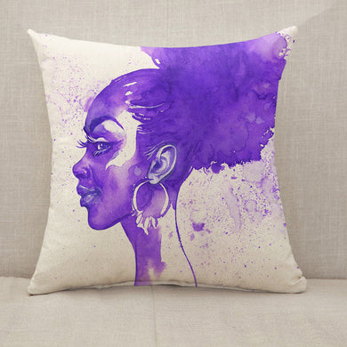 Purple hair african woman Throw Pillow [With Inserts]