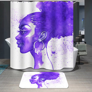 Purple hair african woman Shower Curtain