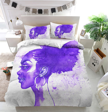 Purple hair african woman Duvet Cover Bedding Set