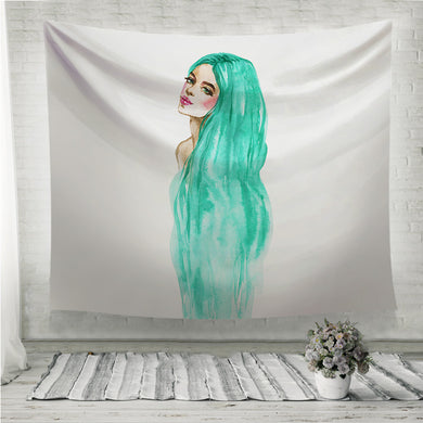 Green hair woman Wall Tapestry