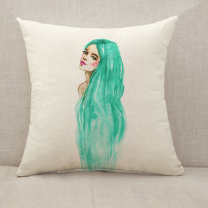 Green hair woman Throw Pillow [With Inserts]
