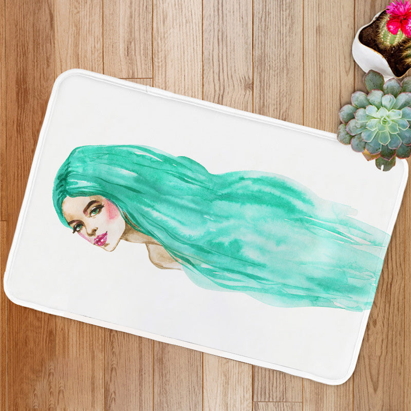 Green hair woman Bath Mat