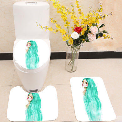 Green hair woman 3 Piece Toilet Cover Set