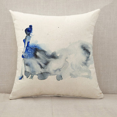 Blue dress fashion woman Throw Pillow [With Inserts]