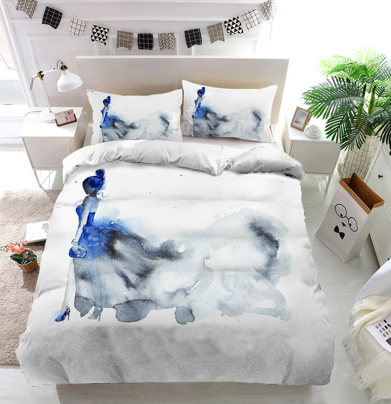 Blue dress fashion woman Duvet Cover Bedding Set