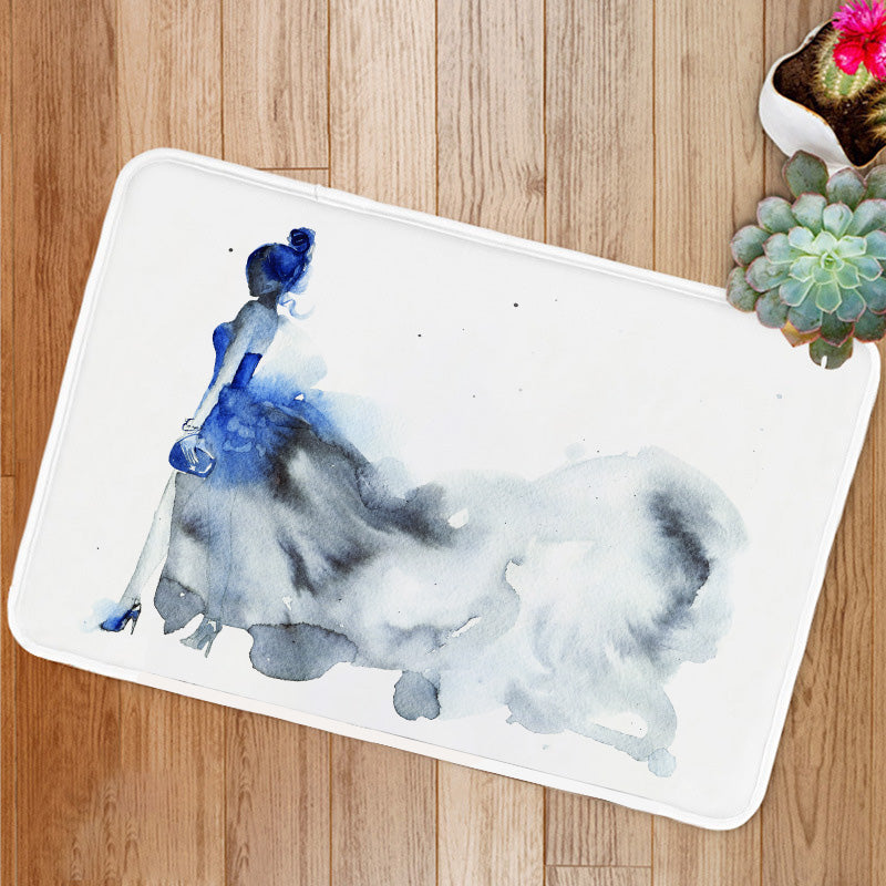 Blue dress fashion woman Bath Mat