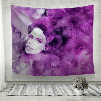 Purple lady's face Wall Tapestry