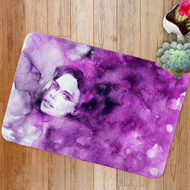Purple lady's face Bath Mat