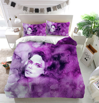Purple lady's face Duvet Cover Bedding Set