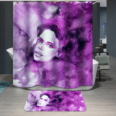 Purple lady's face Shower Curtain
