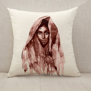 Brown indian woman Throw Pillow [With Inserts]
