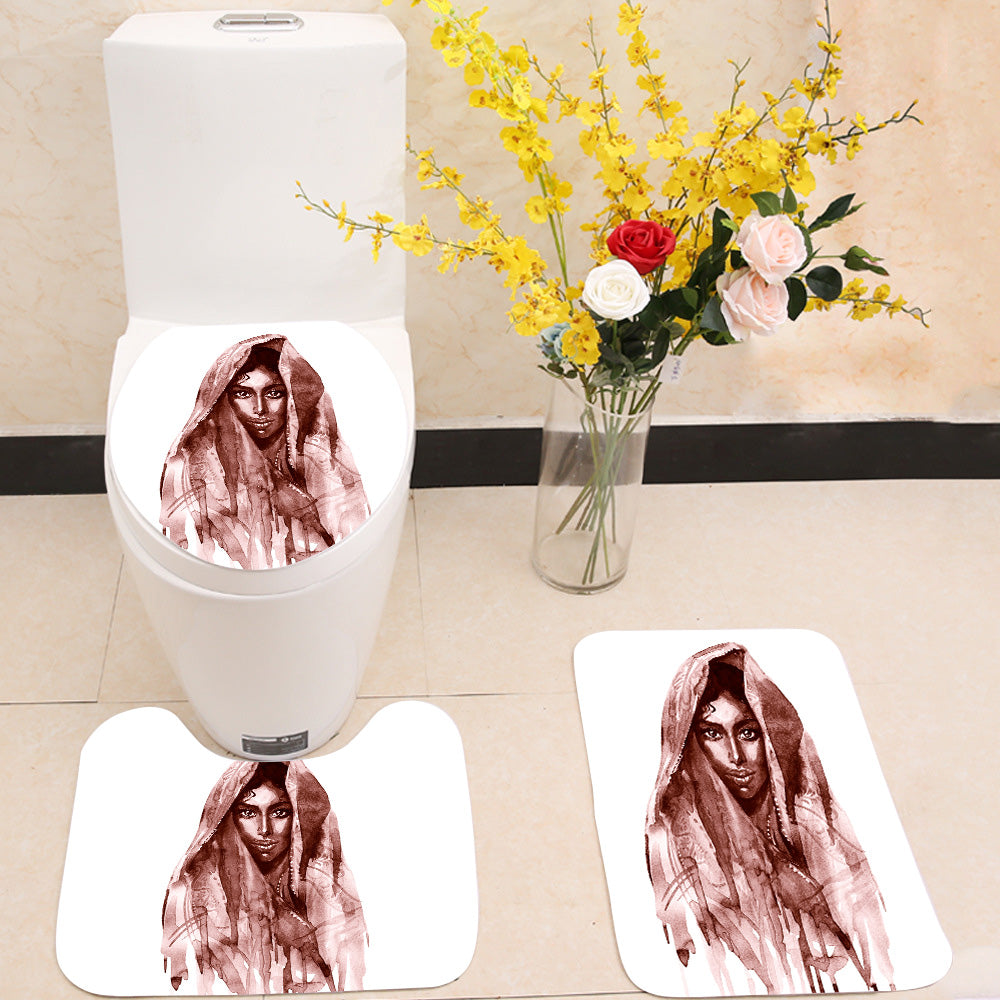 Brown indian woman 3 Piece Toilet Cover Set