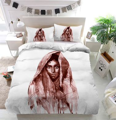 Brown indian woman Duvet Cover Bedding Set