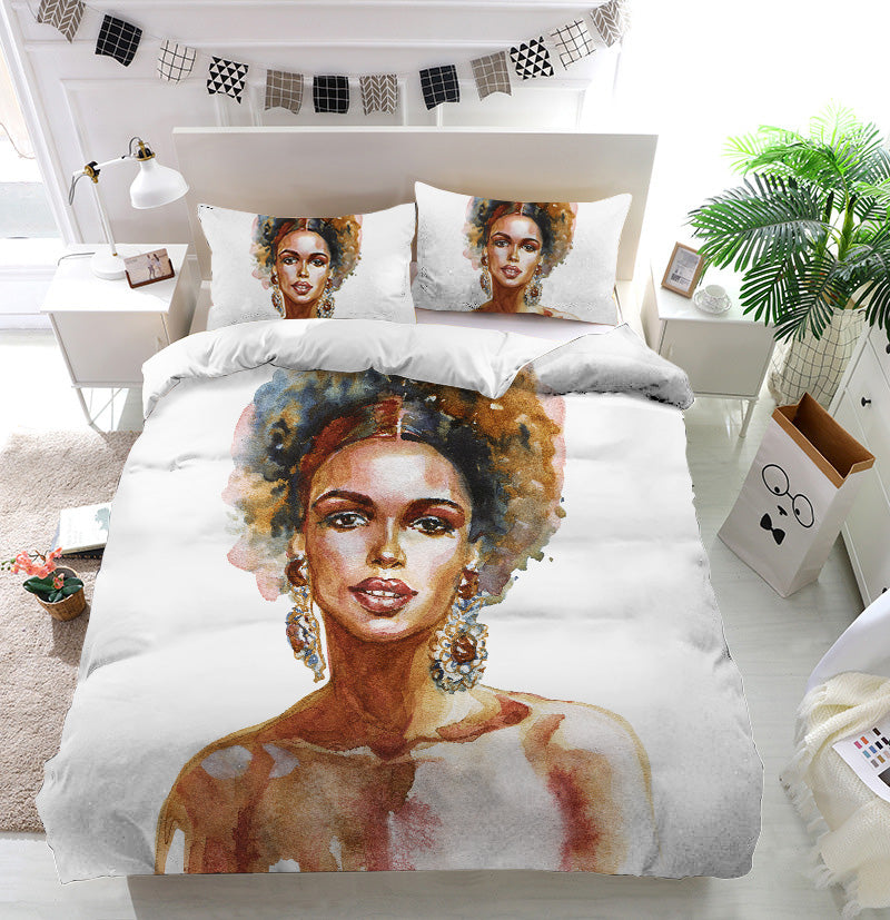 Fashion african woman Duvet Cover Bedding Set
