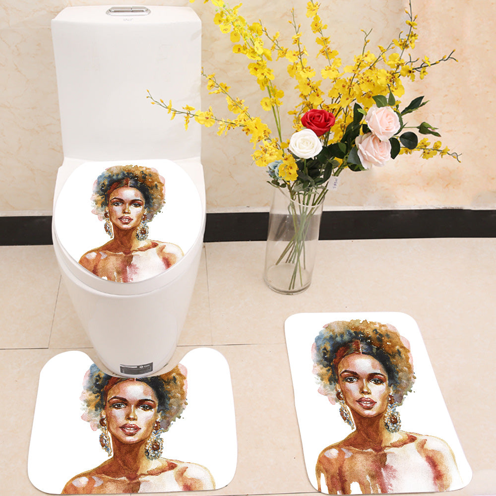 Fashion african woman 3 Piece Toilet Cover Set