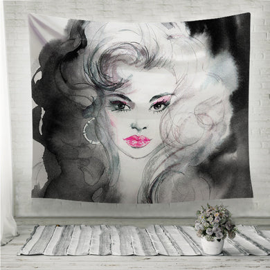 Black and white beautiful woman Wall Tapestry