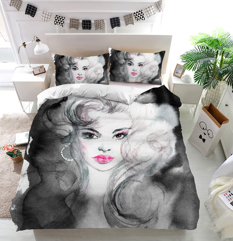 Black and white beautiful woman Duvet Cover Bedding Set