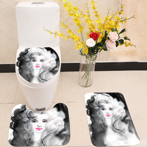 Black and white beautiful woman 3 Piece Toilet Cover Set