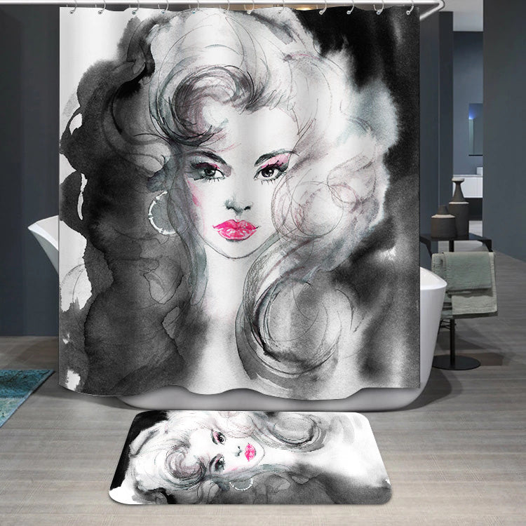 Black and white beautiful woman Shower Curtain