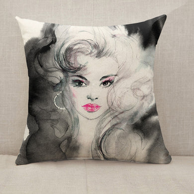 Black and white beautiful woman Throw Pillow [With Inserts]