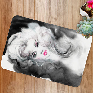 Black and white beautiful woman Bath Mat