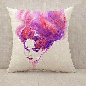 Pink hair woman face Throw Pillow [With Inserts]