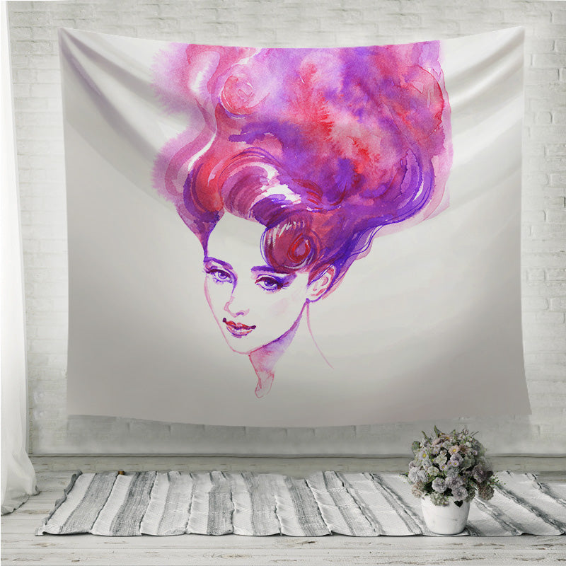 Pink hair woman face Wall Tapestry