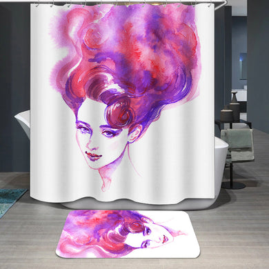 Pink hair woman face Shower Curtain