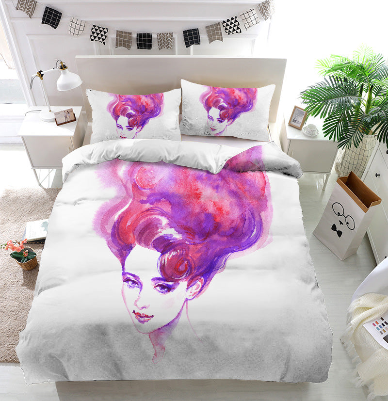 Pink hair woman face Duvet Cover Bedding Set