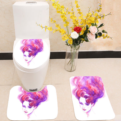 Pink hair woman face 3 Piece Toilet Cover Set