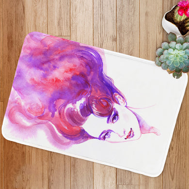 Pink hair woman face Bath Mat