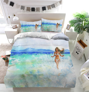 Woman on the beach Duvet Cover Bedding Set