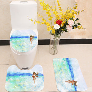 Woman on the beach 3 Piece Toilet Cover Set