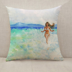 Woman on the beach Throw Pillow [With Inserts]