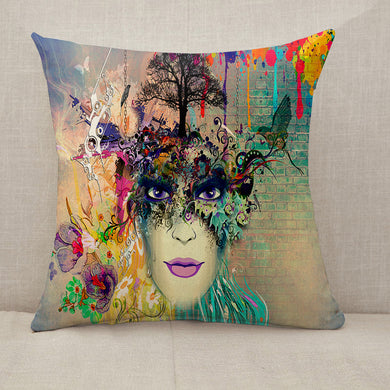 Woman face cubism style Throw Pillow [With Inserts]