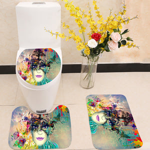 Woman face cubism style 3 Piece Toilet Cover Set