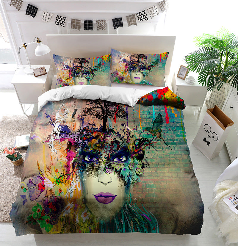 Woman face cubism style Duvet Cover Bedding Set