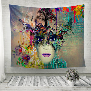 Woman face cubism style Wall Tapestry
