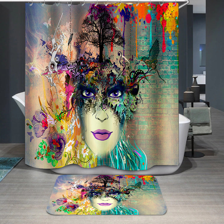 Woman face cubism style Shower Curtain